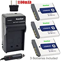 Kastar Battery (3-Pack) and Charger for Sony NP-BD1, NP-FD1, BC-CSD and Cyber-shot DSC-G3, DSC-T2, DSC-T70, DSC-T75, DSC-T77, DSC-T90, DSC-T200, DSC-T300, DSC-T500, DSC-T700, DSC-T900, DSC-TX1 Cameras