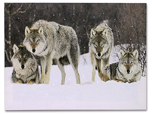 Light Up Wolf Picture - Wolves LED Lighted Canvas Print - Wolf Pack in a Winter Scenn -