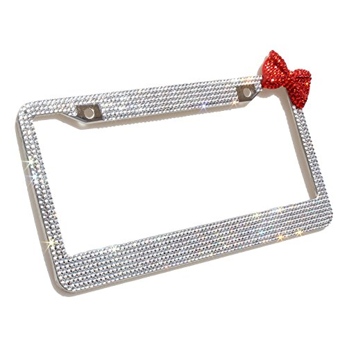 Carfond 7 Row Pure Handmade Bling Bling Rhinestones Stainless Steel License Plate Frame With Red Bow Bonus 2 Matching Screws&Caps (white stones with red bowknot)