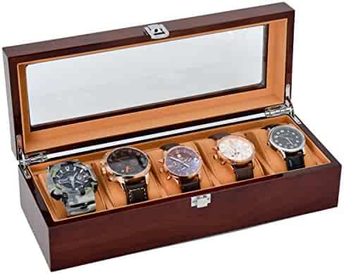 Watch Case for Men 5 Slots Solid Wood Storage Organizer Display Box Exquisite and Durable