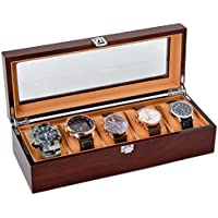 Hombres/Mujeres Reloj De Madera Maciza con 5extraíble velvetón almohadas parte superior reloj de visualización Caja de almacenamiento Display Case