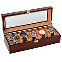 Solid Wood Watch Case Organizer with Mens 5 Slots Glass Display Top Jewelry Box