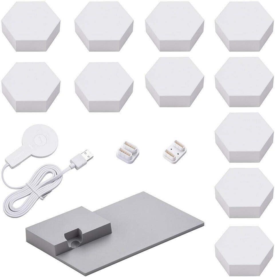 LifeSmart Hexagon WiFi Smart LED Light Kit 11 Blocks with Base 16 Million Color Colorlight Compatible with Alexa Google Home Decor