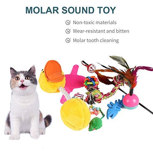 Festnight-1 18pcs Cat Kitten Toys Feather Sound Interactive Teaser Balls and Mint -