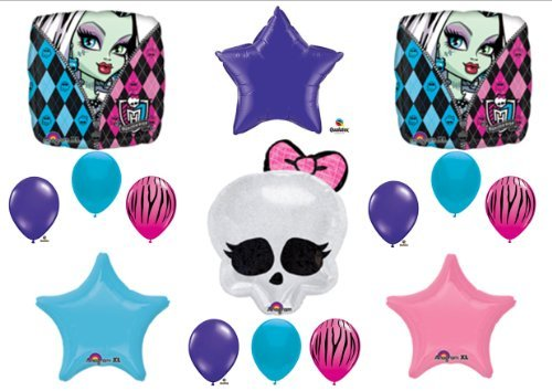 Monster High Skullette Birthday Balloon Bouquet Kit Purple/blue/zebra ()