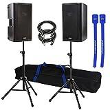 QSC K10 Pair 10'' 1000-Watt Powered Speakers w/ Stands & Cable Ties