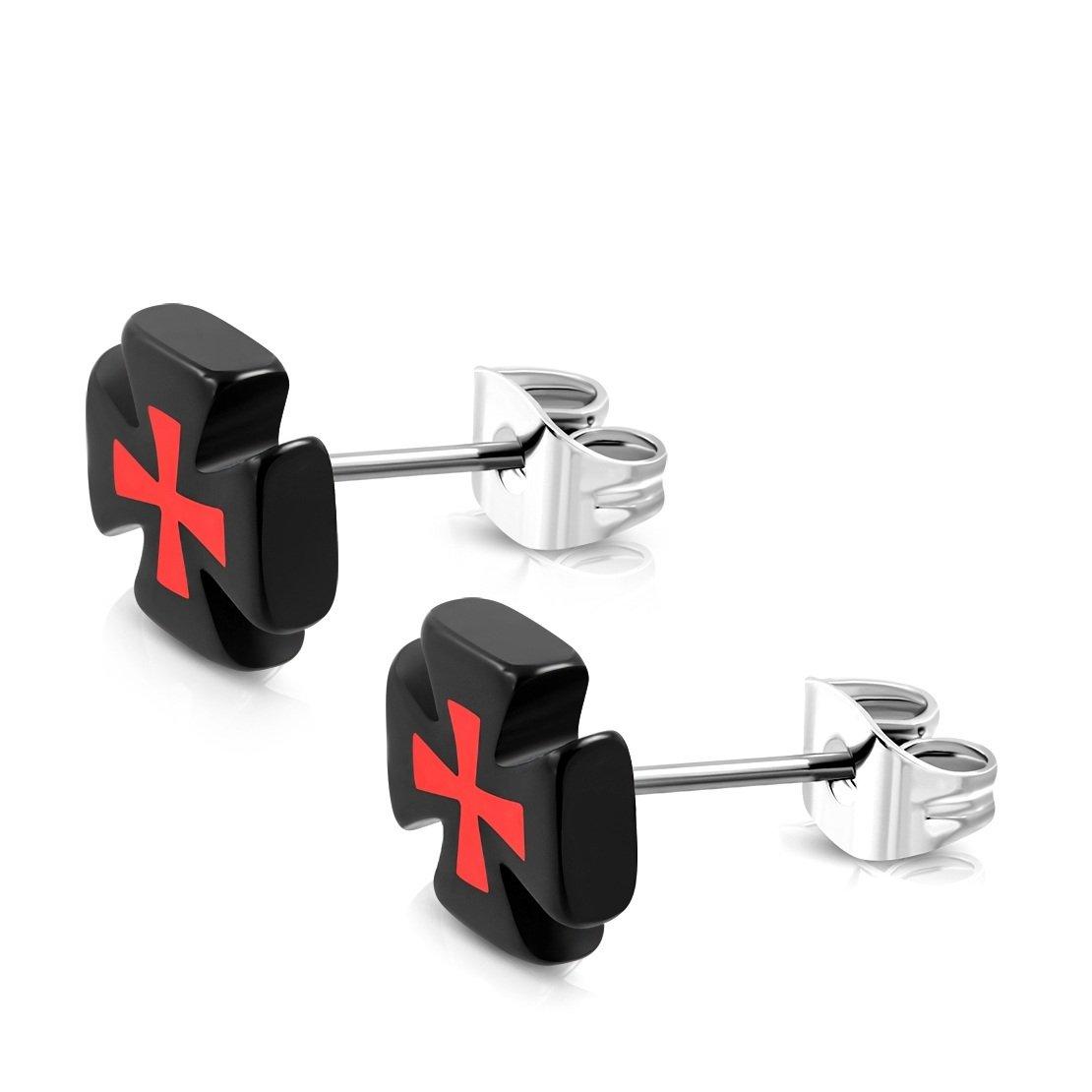 Stainless Steel Stud with Black Acrylic 3 Color Pattee Cross Earrings pair