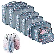 Packing Cubes for Suitcase 10 Sizes Suitcase Organizer Bags 10 pcs Blue Flowers