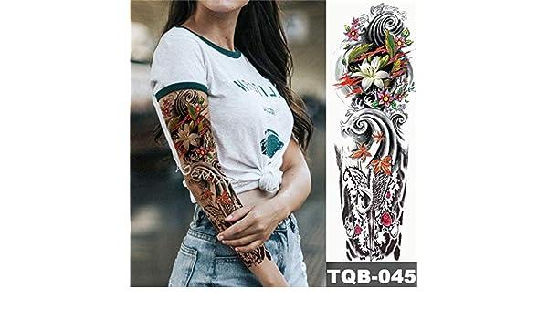 Brazo grande manga tatuaje chica salvaje India impermeable tatuaje ...
