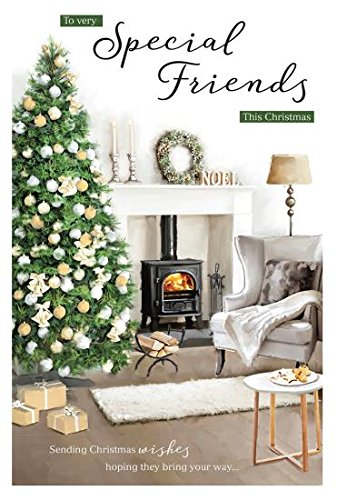 Tarjeta de Navidad (icg7101) - amigos especiales - Chimenea y ...