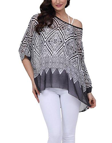 Ladies Silk Shirt - Nicetage Bohemian Floral Chiffon Blouse Casual Batwing Blouse Hippie Semi Sheer Loose Tops 4285