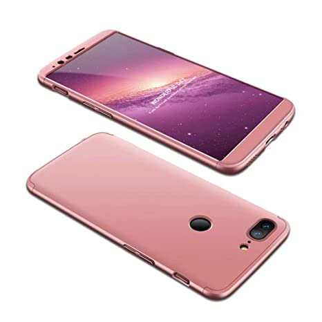 Funda OnePlus 5T 360 Grados Oro Rosa Ultra Delgado Todo Incluido Caja del teléfono de la protección 3 en 1 PC Case JOYTAG