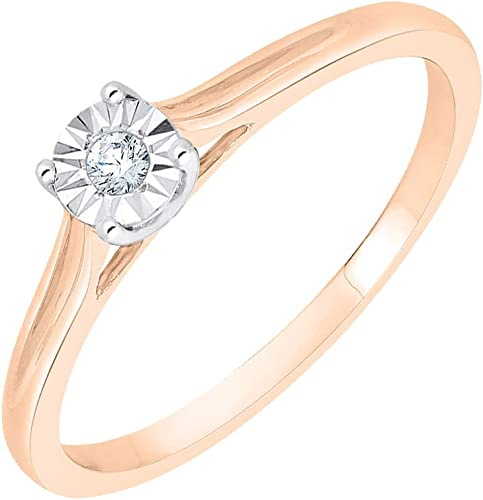 Size-5.75 Diamond Wedding Band in 10K Pink Gold 1//10 cttw, G-H,I2-I3