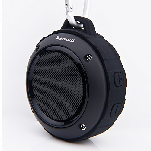 Outdoor Waterproof Bluetooth Speaker,Kunodi Wireless Portable Mini Shower Travel Speaker Subwoofer, Enhanced Bass, Built in Mic Sports, Pool, Beach, Hiking, Camping (Black) by Kunodi (Image #1)