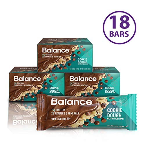 Balance Bar, Healthy Protein Snacks, Cookie Dough, 1.76 oz, Pack of Three 6-Count Boxes (Chocolate Carb Well Balance)