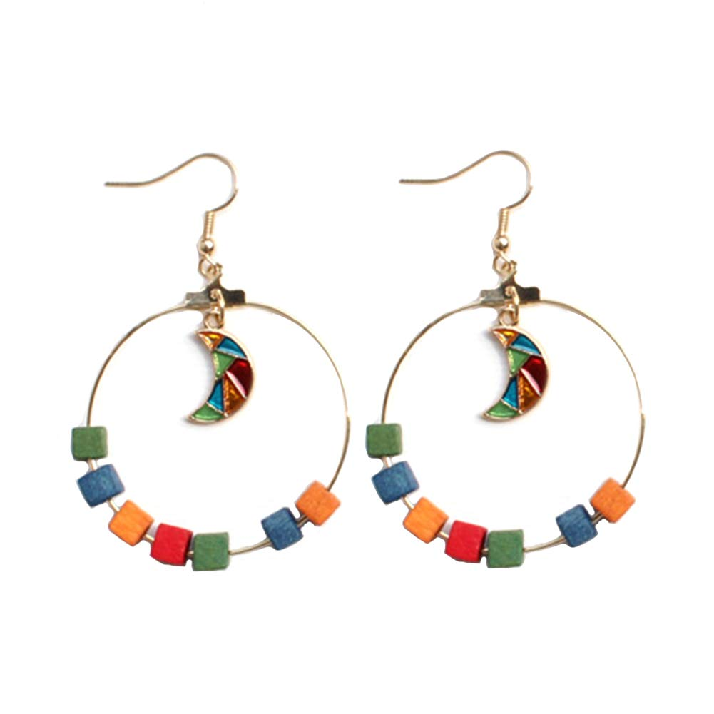 Himpokejg Woman's Fashion Geometric Wood Circle Moon Drop Dangle Hook Earrings Party Jewelry Gifts - Multicolor