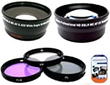 Deluxe Lens Kit for panasonic AG-HCK10g AG-HMC40PJ AG-HMC80PJ professional camcorder + Includes 43mm PC Filter Kit + 43mm 2X Telephoto Lens + 43mm 0.45x Wide Angle Lens with Macro + MicroFiber Cleaning Cloth + LCD Screen Protectors