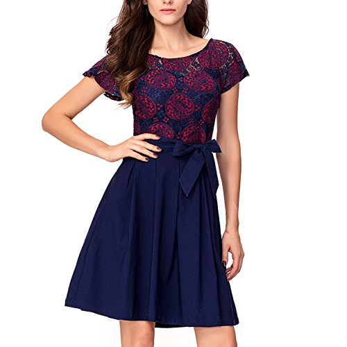 Patchwork Bow (Noctflos Women's Vintage Retro Lace Patchwork Bow A-Line Cocktail Party Dress)