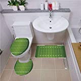 Pattern,Football,Sports Field in Green Gridiron Yard Competitive Games College Teamwork Superbowl,Green White,Bath mat Set Round-Shaped Toilet Mat Area Rug Toilet Lid Covers 3PCS