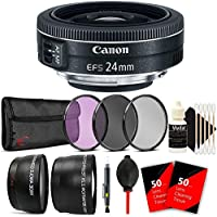 Canon EF-S 24mm f/2.8 STM Wide Angle Lens with Accessories for Canon DSLR Cameras