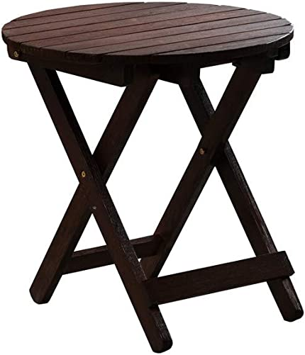 B Z KD-41N Adirondack Round Portable Outdoor Folding Side Table Rustic Brown
