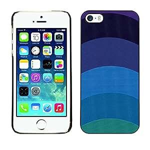 X-ray Impreso colorido protector duro espalda Funda piel de Shell para Apple iPhone 5 / iPhone 5S - Teal Blue Lines Minimalist Calm