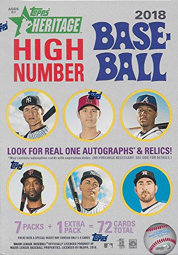 2018 Topps HERITAGE High Number Series MLB Baseball Unopened Blaster Box with a Chance for Rookie Cards and Autographs plus EXCLUSIVE 1969 Bazooka All Time Greats Found only in this Product -