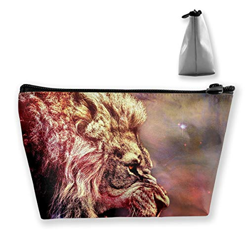 (Makeup Bag Cosmetic Space Stars Lions Portable Cosmetic Bag Mobile Trapezoidal Storage Bag Travel Bags with)