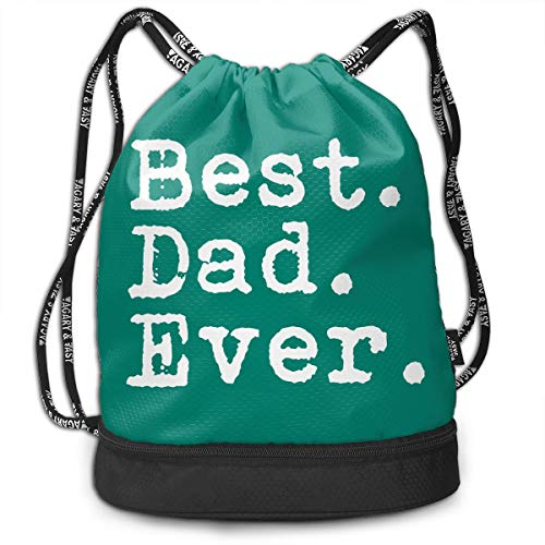 VRLGWDHD Best. Dad. Ever Unisex 3D Digital Printed Sport Gym Drawstring Bags Goody Bags with Straps for Holiday
