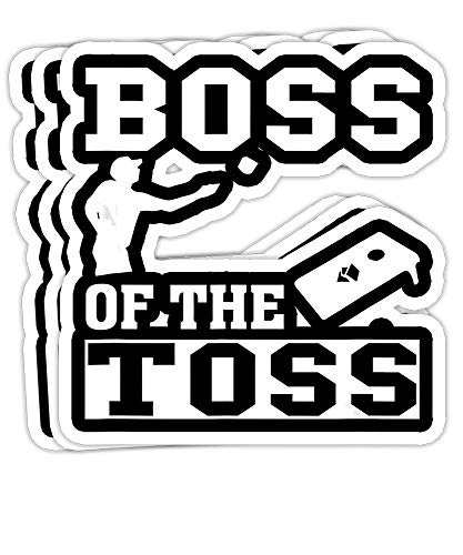 Boss of The Toss Cornhole Game Tailgating Funny Gift Decorations - 4x3 Vinyl Stickers, Laptop Decal, Water Bottle Sticker (Set of 3)