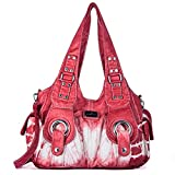 Handbag Hobo Women Bag Roomy Multiple Pockets Street ladies' Shoulder Bag Fashion PU Tote Satchel Bag for Women (XS160191Z red)