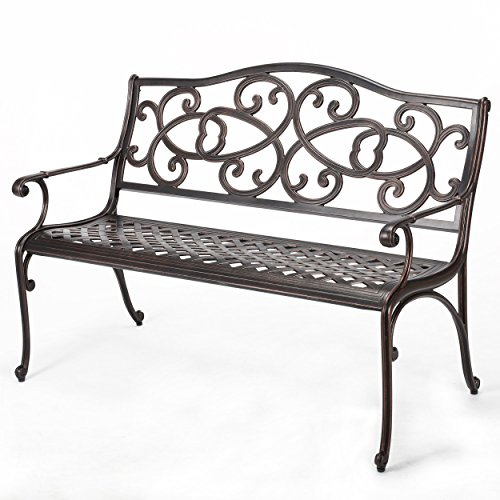 Home Garden Patio - Christopher Knight Home 297261 Gael Cast Aluminum Garden Bench, Copper