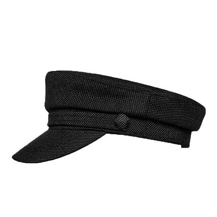JJJRMP Gorra Militar Mujer Algodón Negro Lino Sombrero Plano ...
