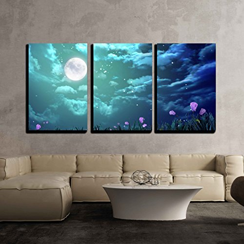 wall26 - 3 Piece Canvas Wall Art - the Beauty Moon in the Night Sky - Modern Home Decor Stretched and Framed Ready to Hang - 24''x36''x3 Panels by wall26