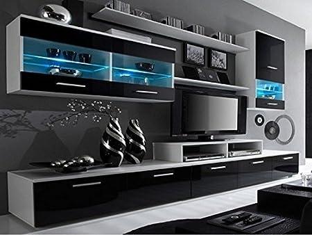 Alpha negro y blanco de la unidad de pared para televisor, estantes, pantalla huecos de con