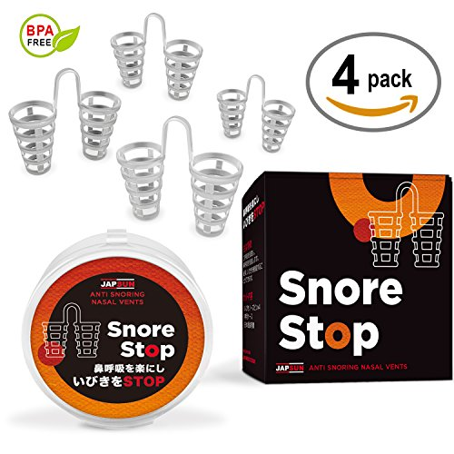Snore Stop Japanese Standard Anti-Snoring Nose Vents with Travel Case - Safe and Comfortable Stop Snoring Solution - Set of 4 Nasal Dilators for Protecting Your Sleep - Great Breathing Aids for Anyone