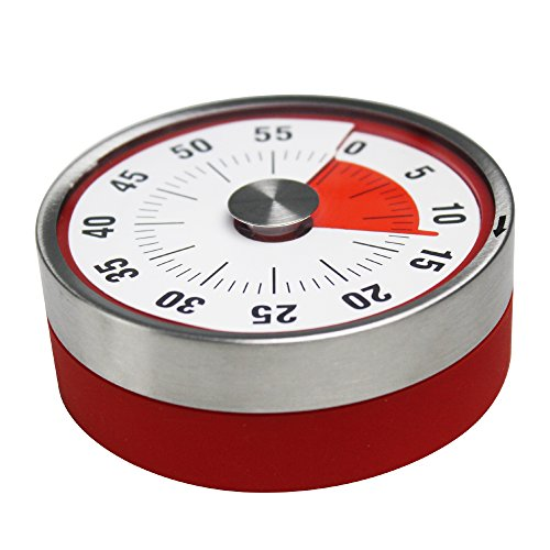 (Round Magnet Mechanical Rotate Countdown Clock Timer With Alarm 60 Minutes Record Capacity Counter Sound Ring When Time Reached For Kitchen Cooking Housework Sports Office Timekeeper Red)