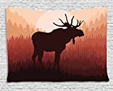 Ambesonne Moose Tapestry, Antlers in Wild Alaska Forest Rusty Abstract Landscape Design Deer Theme Woods, Wall Hanging for Bedroom Living Room Dorm, 60 W X 40 L inches, Peach and Brown