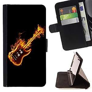 Devil Case- Estilo PU billetera de cuero del soporte del tir¨®n [solapa de cierre] Cubierta FOR Sony Xperia M2 s50h Aqua- Guitar Music