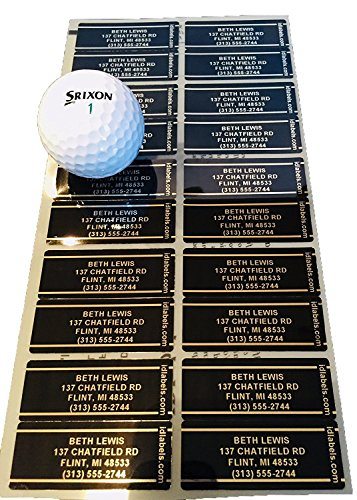 Genuine Pin High Personalized Golf Club ID Labels - Set Of 20 Laminated Mylar Golf Club Labels, Black
