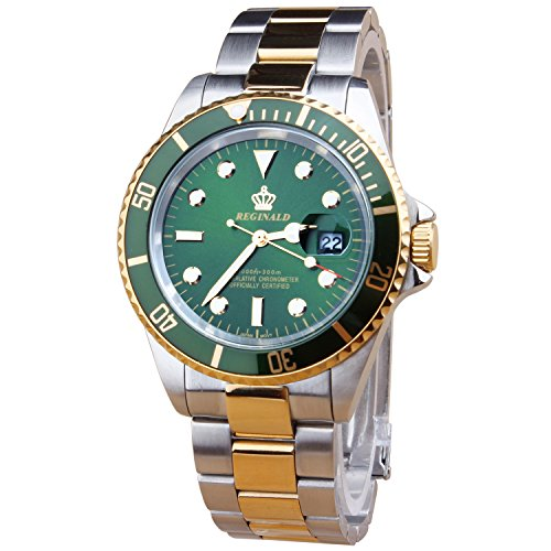 Dial Green Bezel (MASTOP Fashion Mens GMT Watch Rotatable Bezel Green Dial Quartz Stainless Steel Gold Band Wrist Watch)