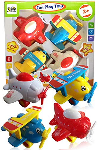 (3 Bees & Me Airplane Toys - Set of 4 Toy Airplanes for Boys and Girls - Fun Toys for Toddlers & Kids)