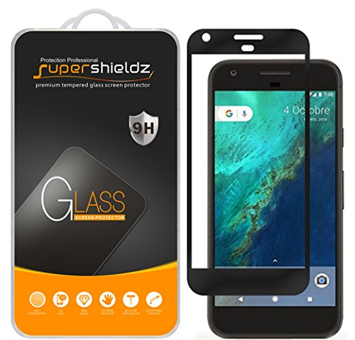 [2-Pack] Supershieldz for Google Pixel Tempered Glass Screen Protector, [Full Screen Coverage] Anti-Scratch, Bubble Free, Lifetime Replacement Warranty (Black)