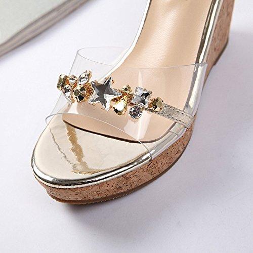 cuero Verano con gold sandalias verano alto tacones de 36 de apricot 6 Mujer de zapatos cm altos 4gTxrtwg