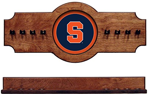 (NCAA Syracuse SYRCRR100-P 2 pc Hanging Wall Pool Cue Stick Holder Rack - Pecan)