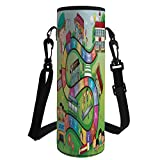 Water Bottle Sleeve Neoprene Bottle Cover,Board Game,School Kids on Bus Playing in Garden Educational Games Library Toys Icons Print Decorative,Multicolor,Fit for Most of Water Bottles