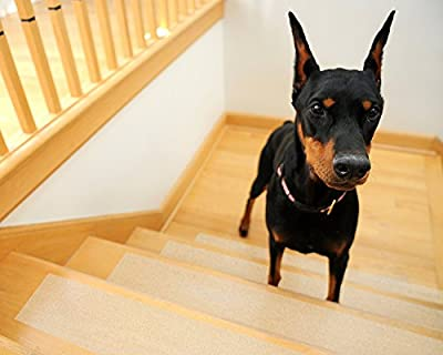 """Kenley Non-slip Stair Treads for Dogs and Pets - Pack of 4 Clear Step Strips 6""""x24"""" - Indoor & Outdoor - Anti-slip Floor Vinyl Safety Grip Tape with Adhesive for Steps & Stairs - Fall Risk Prevention"""