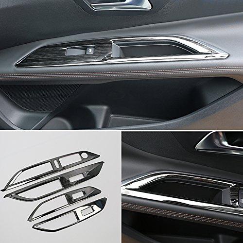 HIGH FLYING ABS pl/ástico//Acero Inoxidable Puerta Interior reposabrazos tapajuntas 4/Unidades para 3008/GT//5008/GT 2017/2018