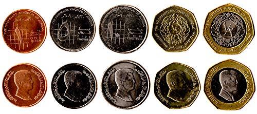 Jordan 5 Coins Set 1992 UNC Jordanian Qirsh (Piastre), Dinar Collectible Coins to Your Coins Album, Coin Holders OR Coin Collection