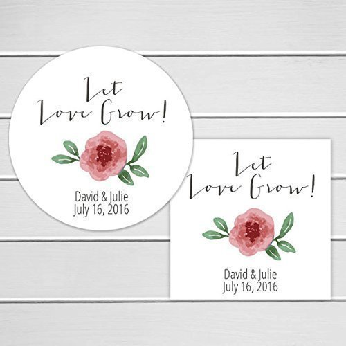 Let love grow wedding favor stickers floral stickers 252